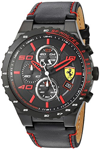 Scuderia Ferrari Men's Quartz Stainless Steel and Leather Casual Watch, Color:Black (Model: - Men Ferrari Scuderia