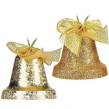 Tradebox 4 St 6 Cm Gold Glitter Weihnachtsglocken Weihnachtskugeln