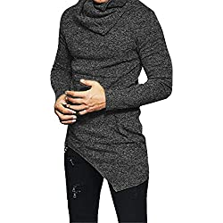 F.Honey Men's Side Pocket Turndown Collar Swag Curved Hem Long Sleeve Cowl Hip Hop Hipster Slim T-shirt Blouse (M, Grey)