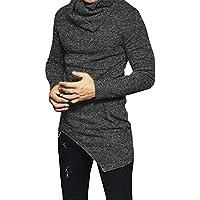 F.Honey Men's Long Sleeve Slim Fit Side Pocket Cowl Neck SWAG Irregular Hem Hipster Hip Hop T-Shirt Blouse