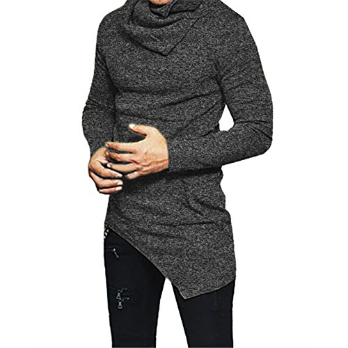 F.Honey Men's Side Pocket Turndown Collar Swag Curved Hem Long Sleeve Cowl Hip Hop Hipster Slim T-shirt Blouse (M, Grey) (Hipster Mens)