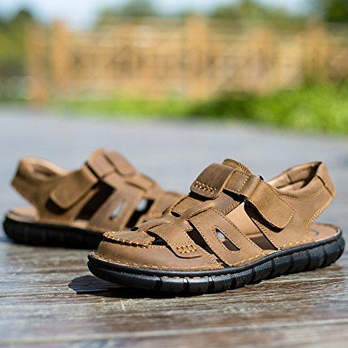 Respirables Lightbrown Lyzgf La Ocio Del Playa Juventud Zapatillas De Verano Sandalias Moda Los Cuero Hombres Fqx6Fw7r