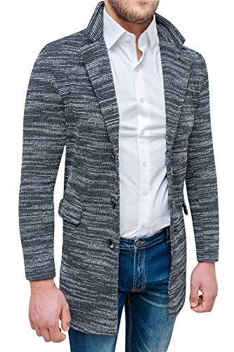 Tweed Fit Soprabito Invernale Cappotto Slim Grigio Nero Uomo Sartoriale Elegante Pgwqav