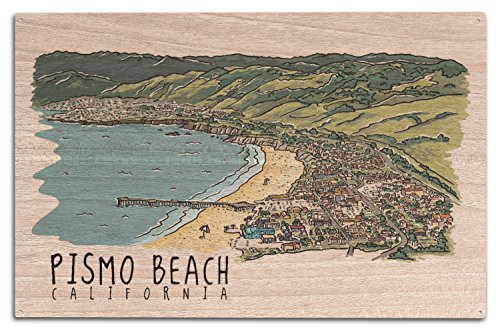 Pismo Beach, California - Line Drawing (10x15 Wood Wall Sign, Wall Decor Ready to - Pismo Beach Usa California