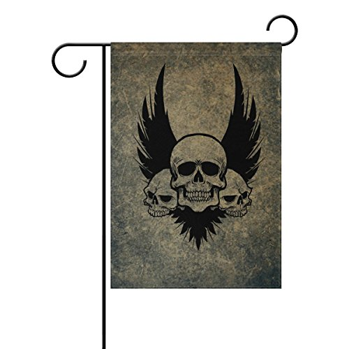(HEOEH Awesome Skull Crossbones Wings Home Garden Yard Flag - Double Sided Decorative Outdoor Flag 28x40 inch)