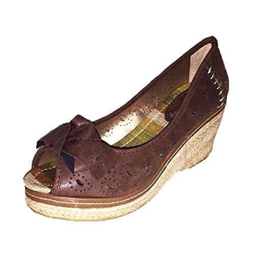 Peep Toe Keil Ferse Hof Schuhe mit Bogen vorne Brown