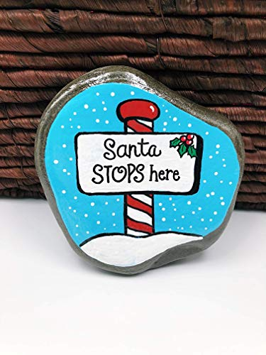 Santa Stops Here Painted Rock with Peppermint Pole and Snow