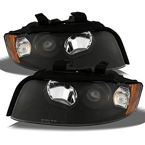 For Audi A4/S4 OE Replacement Black Bezel Halogen Type Projector Headlights Driver/Passenger HeadLamps