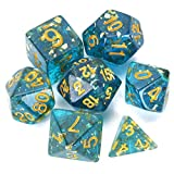 FLASHOWL Transparent Light Blue Dice Set Dungeons