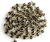 KALISA GEMS Beads Gemstone 5 feet Smoky Quartz Wire Wrapped Faceted Rondelle Beads, Rosary Style Beaded Chain