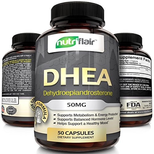 Premium Quality DHEA Supplement, 50MG (50 Capsules) – Promotes Balanced Hormone Levels for Men & Women – slows down Aging Process – Supports Sex Drive – Restores Muscle Strength, Non-GMO, Made in USA