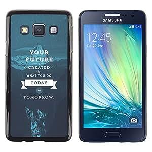 KLONGSHOP // Cubierta de piel con cierre a presión Shell trasero duro de goma Protección Caso - Tu futuro - Samsung Galaxy A3 //