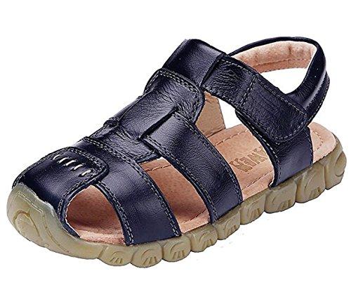 Black Boys Sandals - DADAWEN Boy's Girl's Leather Closed Toe Outdoor Sport Sandals (Toddler/Little Kid/Big Kid) Black US Size 6 M Toddler
