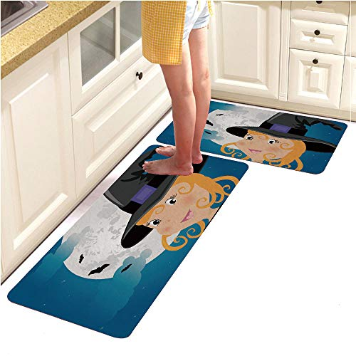 Rugs Runner Rug -Non Skid Carpet Entry Rugs Runners for Kitchen and Entryway,Cute Girl in Halloween Costume Whit Moon and Bats (15