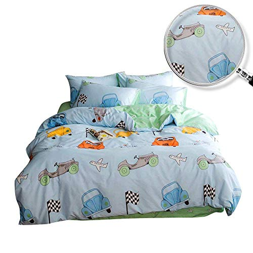 XUKEJU Reversible 3 Pieces Cars Duvet Cover Cartoon Animal Print Bedding Set 100% COTTON Quilt Cover Twin Size for Boys/Girls