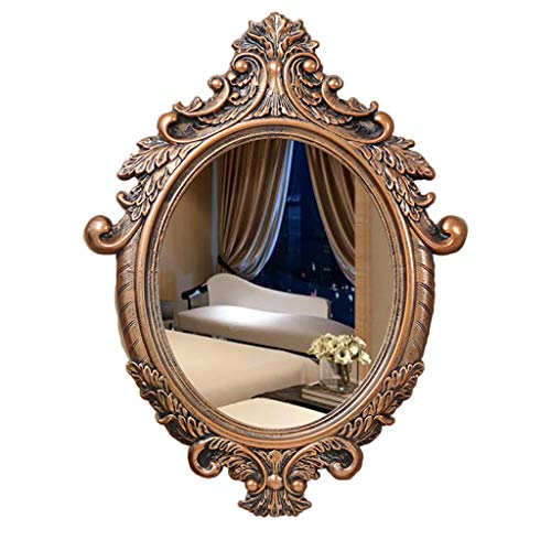 Vintage Carving Ellipse Wall-Mounted Bathroom Mirror Pine Wooden Large Frame Vanity Mirror with Wall Hanging Fixing Hardware Brown (3 Size)