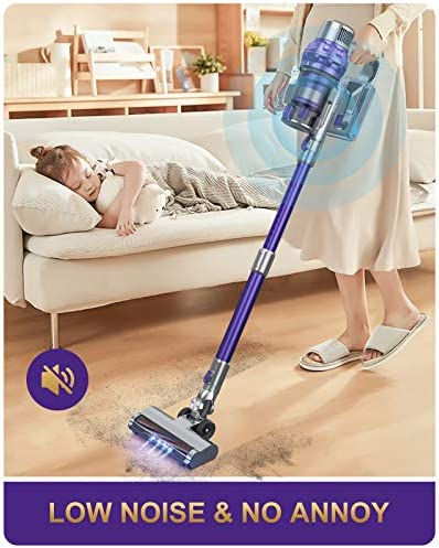 Laresar Cordless Vacuum Cleaner,26Kpa Powerful Suction Stick Vacuum,Lightweight Handheld Vacuum for Hard Floor Carpet Pet Hair,30Min Running,Rechargeable Battery,Purple(Elite 1)