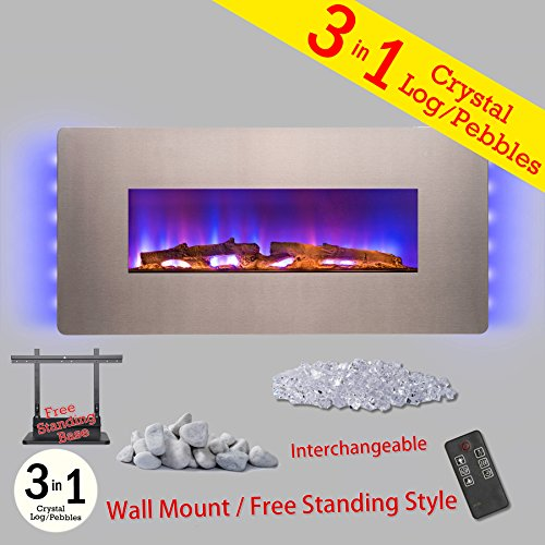 36-Inch Electric Wall Mount Fireplace Heater W/Remote Control and Pebble - Freestanding Stainless Steel Heater