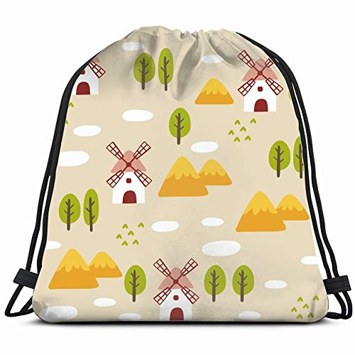 summer landscape windmill energy nature Drawstring Backpack Gym Sack Lightweight Bag Water Resistant Gym Backpack for Women&Men for Sports,Travelling,Hiking,Camping,Shopping Yoga (Best Windmill Propeller Design)