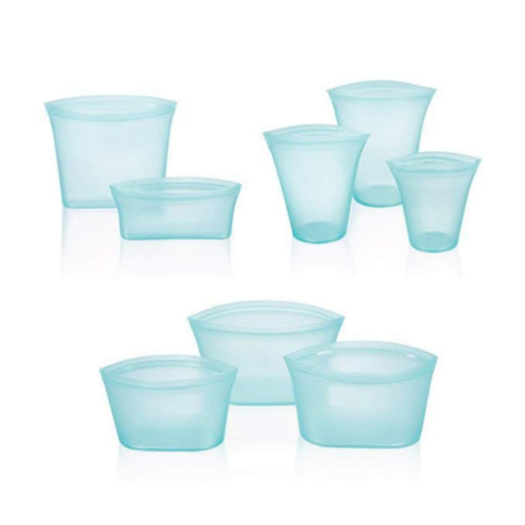 8 x Reusable Silicone Food Storage Bags Set Zip Leakproof Container Stand Up Bag (Light Blue)