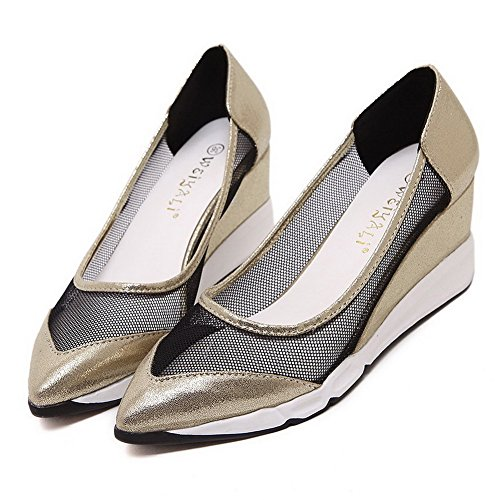 AllhqFashion Damen Spitz Zehe Mittler Absatz Weiches Material Rein Ziehen auf Pumps Schuhe Golden