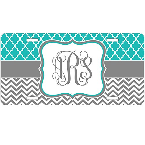 Simply Customized Personalized License Plate Monogram Pretty Teal Lattice Grey