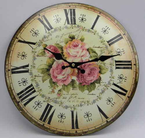 Landhausstil deko online shop  Amazon.de: Wanduhr Rosen Nostalgie Shabby Chic Uhr Rose Metall ...