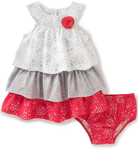Calvin Klein Baby Girls' 2 Pieces Dress with Panty-Ruffles, White/Cherry, (Baby Girl Dresses)