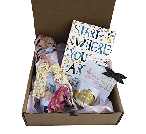 Gift Box-Floral Scarf, Scented Candle,