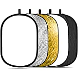 Neewer 5-in-1 Oval 80X120cm/31 x 47 Professional Collapsible Multi-Disc Light Reflector with Translucent, Silver, Black, Gold, White surface