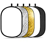 "Neewer Portable 5 in 1 120x180cm/47""x71"" Translucent, Silver, Gold, White, and Black Collapsible Round Multi Disc Light Reflector for Studio or any Photography Situation"