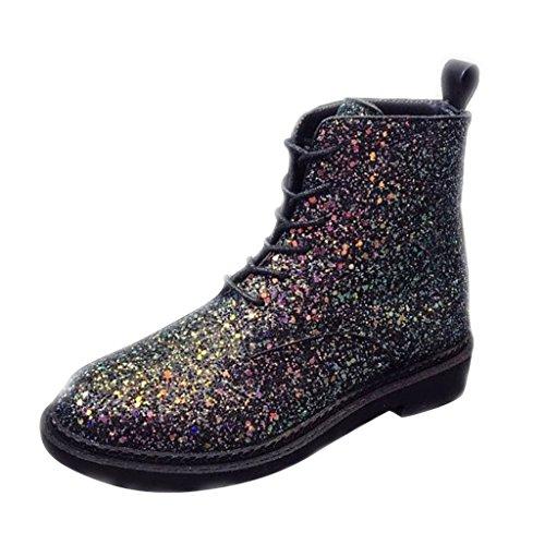 Caro Tempo Donne Paillettes Lace-up Tacco Basso Martens Boot Nero