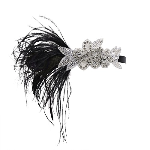 PrettyGuide Women 20s Flapper Headpiece Bead Peacock Feather Gatsby Bridal Headband Black with silver