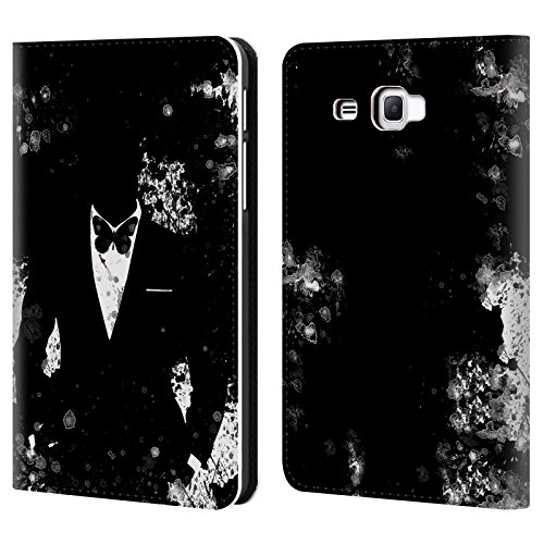 Official Aron Art Butterfly Black And White Gentleman Leather Book Wallet Case Cover For Samsung Galaxy Tab A 7.0 - Aron Black