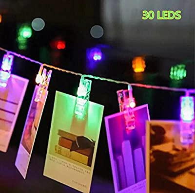 30 LED Photo Clips String Lights Indoor / Outdoor, Christmas Lights, USB Powered, 12 Ft, 30 LED Clips Lights?Multicolor - for Hanging Photos Paintings Pictures Card and Memos