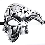CCUFO Steam Punk Phantom of The Opera Vintage Masquerade Venetian Luxury Men Face Mask | Party, Fancy Ball, Prom, Mardi Gras, Wedding, Wall Decoration (Silver)