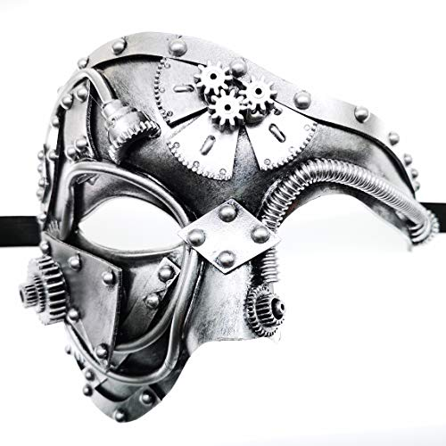 CCUFO Steam Punk Phantom of The Opera Vintage Masquerade Venetian Luxury Men Face Mask | Party, Fancy Ball, Prom, Mardi Gras, Wedding, Wall Decoration (Silver) ]()