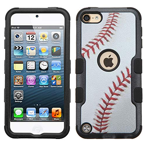 MYTURTLE iPod Touch 7th 6th 5th Generation Case Shockproof Hybrid Hard Silicone Shell Impact Cover with Screen Protector for iPod Touch 7 (2019), iPod Touch 5/6 (2015), Ball Sports Baseball Tuff (Ipod Touch 5 Generation Cases)