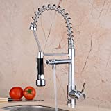 Ollypulse Brass Double Handle Kitchen Sink Faucet with Swivel Pull Out High Pressure Sprayer and Spout Chrome