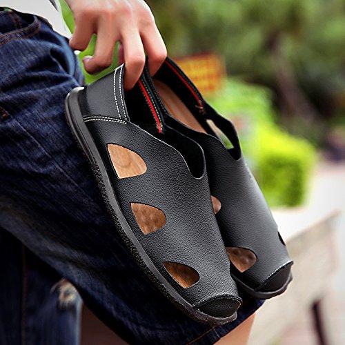 Xing Lin Sandali Di Cuoio Estate Sandali Di Cuoio Scarpe Uomo Scarpe Uomo Pigro Chi Guida La Gioventù Esposta Morbido E Traspirante Scarpe Uomo Scarpe Marea ,45,170 Nero