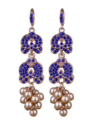 Vijiv Womens Gatsby Earrings Gold Pearls For Bridal Prom Wedding Party Evening Dresses,Gold Blue,One (Gold Fancy Pearl)