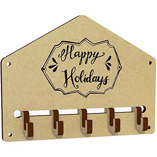 Azeeda 'Happy Holidays Plaque' Wall Mounted Key Hooks / Holder (WH00022983) (Wall Holidays Plaque Happy)