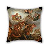 Bestseason Throw Pillow Case 20 X 20 Inches / 50 By 50 Cm(2 Sides) Nice Choice For Bedroom,home Theater,bar,birthday,kitchen,her Oil Painting Claude II Audran - Mars Sur Son Char Tiré Par Des Loups