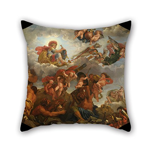 Bestseason Throw Pillow Case 20 X 20 Inches / 50 By 50 Cm(2 Sides) Nice Choice For Bedroom,home Theater,bar,birthday,kitchen,her Oil Painting Claude II Audran - Mars Sur Son Char Tiré Par Des Loups Terrier Accent Pillow
