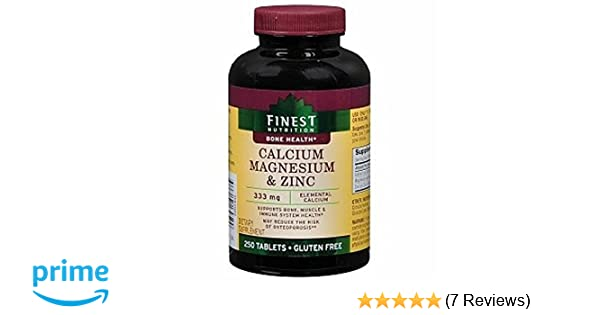 Amazon.com: Finest Nutrition Calcium 333 mg Magnesium & Zinc Dietary Supplement Tablets 250 Each: Health & Personal Care