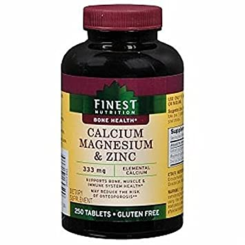Finest Nutrition Calcium 333 mg Magnesium & Zinc Dietary Supplement Tablets 250 Each