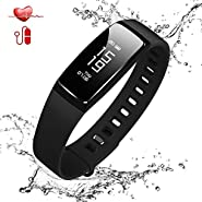 TEYO Fitness Tracker, Smart Watch Activity Tracker BP Fitness Wristband with Heart Rate Monitor,Waterproof Fitness Band with Sleep Monitor Step Calorie Counter, Pedometer Watch for Android IOS