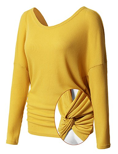 H2H Women's Knit Long Sleeves Haci Slub Top With Open Back Yellow US M/Asia M (Back Open Knit Top)