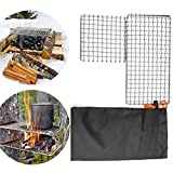 S WIDEN ELECTRIC 2 Packs BBQGrill Mesh Mat, Outdoor Camping Pot Rack, Portable Barbecue net with StorageBag, Simple Firewood Grill, 304 Stainless Steel Barbecue Mesh