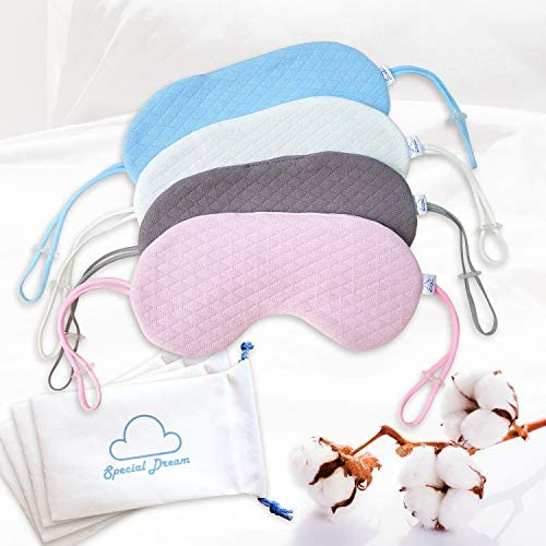 Special Dream Organic Cotton Sleep Mask - Soft Comfort Eye Mask - Adjustable Earstrap now not Band Form - Zero Eye and Back of The Head Pressure - Block Out Light - Perfect Sleep Helper - Blue